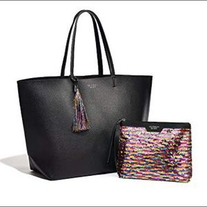 VICTORIAS SECRET Black Tote Bag w Sequin Pouch